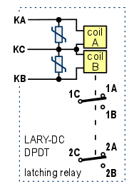 LARY-DC-schem  Coil Latching Relay Wiring on single push button, car alarm, two coil, two coil magnetic, speed up cap, 12vdc dpdt,