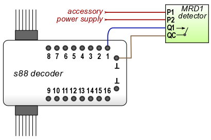Connect Infrared Train Detector to S88 Feedback Decoder on