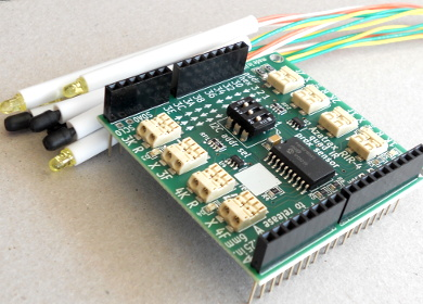 Arduino shield with four IR infrared proximity detectors
