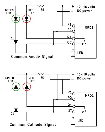 Simple red green led model train signal circuit how to wire the mrd1 and mrd8 infrared train detectors to two aspect model railroad signals asfbconference2016 Choice Image