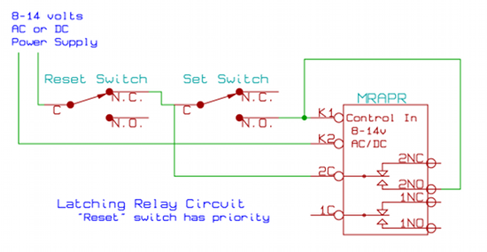 latching relay circuit schematic rh azatrax com 4 Pin Relay Wiring Diagram pulse relay wiring diagram