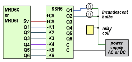 Six SPST solid state relays for circuit isolation