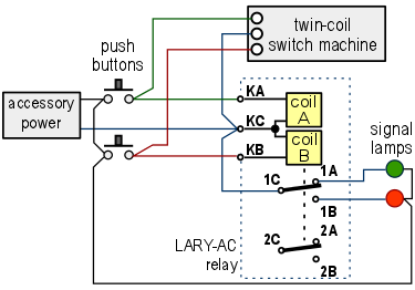 LARY-AC-circuit1  Coil Latching Relay Wiring on single push button, car alarm, two coil, two coil magnetic, speed up cap, 12vdc dpdt,